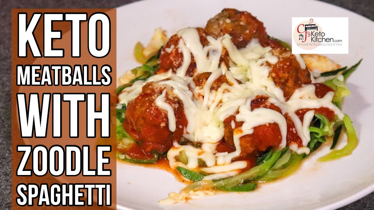 Keto meatballs with Zoodle Spaghetti #KETORECIPE #LOWCARB #KETODINNER #LOWCARBDINNER #WEIGHTLOSS