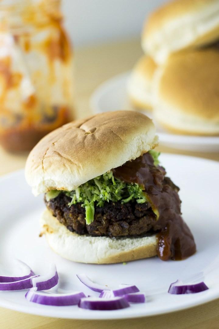 Classic TVP Burger with Fresh Broccoli Slaw