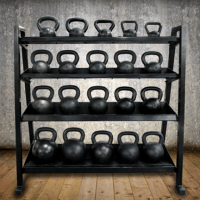 Front view of kettlebell rack. Holds up to 1,400lbs
