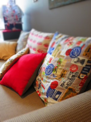 Cushion detail with red accent