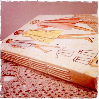 A handbound journal for a friend who likes 'vintage; lace; yellow; pastels'...