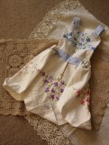 Girls dress from a vintage embroidered tablecloth