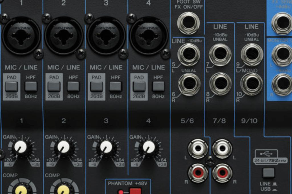Yamaha MG10XU Mixer Inputs
