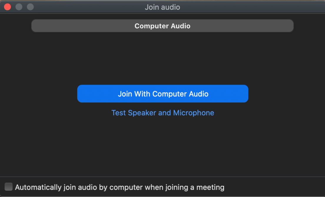 Zoom Join Computer Audio