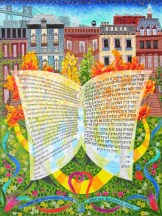 Commissioned Ketubah (Jewish marriage contract), 2012. Egg tempera and india ink calligraphy