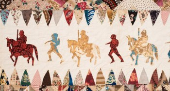 """Maker unknown, Civil War Soldier's Quilt,(detail) New Jersey, 1865-1875. Cotton. 111"""" h x 96"""" w. Collection of Shelburne Museum. The quilt is believed to be made by a discharged soldier while recovering from wounds received in the Civil War."""