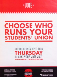 QMSU Elections Graphics, actually quite good this year. After the theme of 'puzzles' last year, and a copyright rip-off tube map the year before.