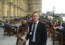 Kevin on the terrace at the Houses of Parliament