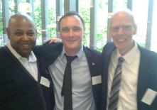Kevin at an Interserve conference in London - with Sydney Coy, prison operations manager for the Nehamiah Project and the then Interserve Director of Community Solutions Paul Hindson. (Paul is now at Working Links.)