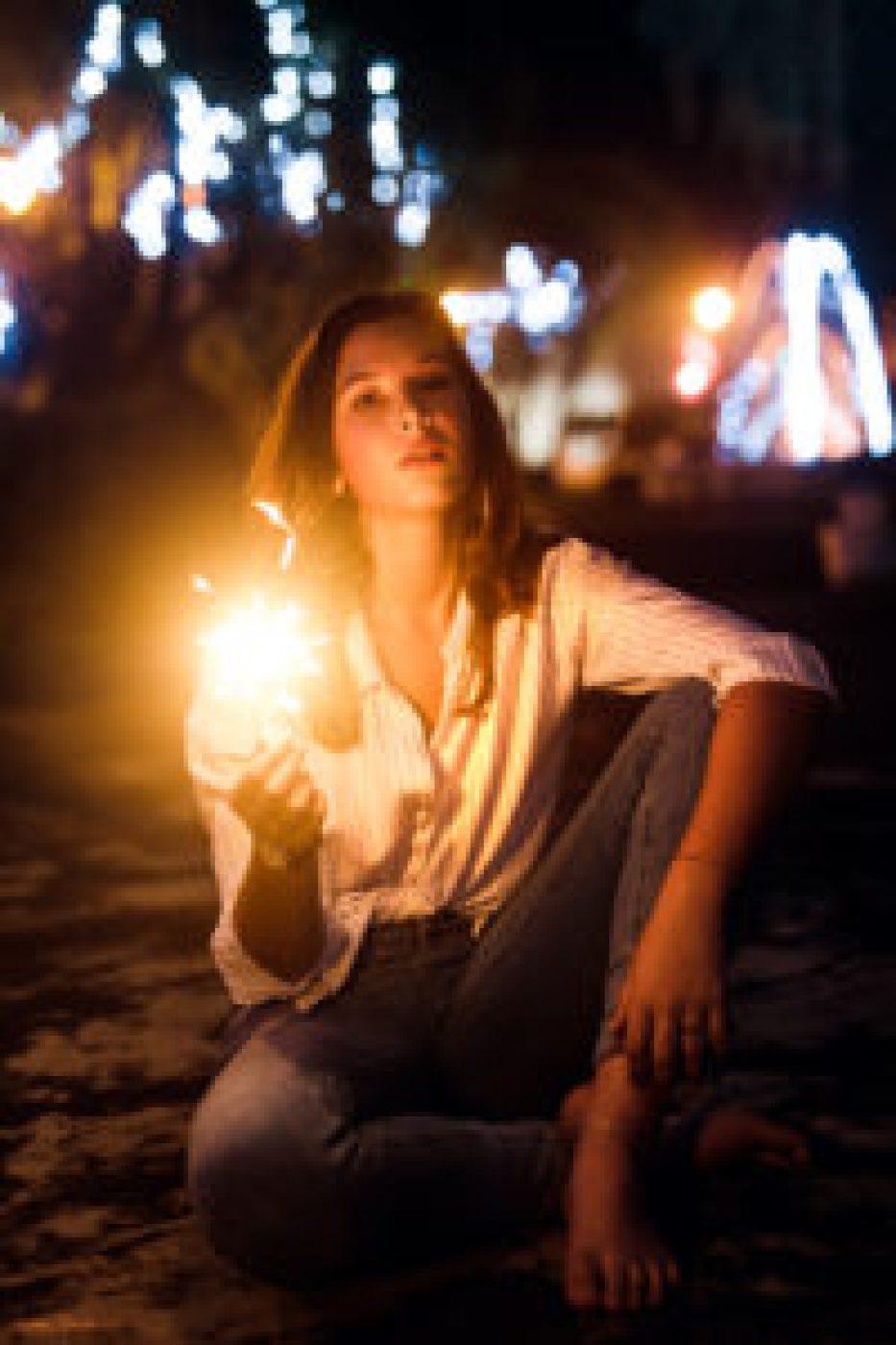 Shooting photo avec Romane, Cierge magique de nuit