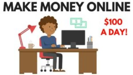 Make money online words and girl sitting at her desk