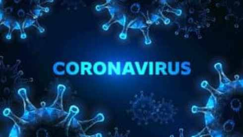 blue and white picture of corona virus