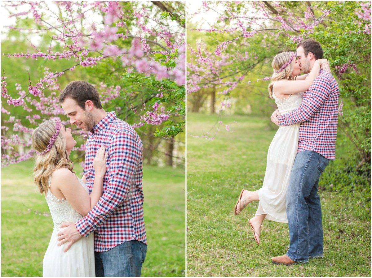 Spring engagement session with blooming trees on a family farm in Lexington, KY