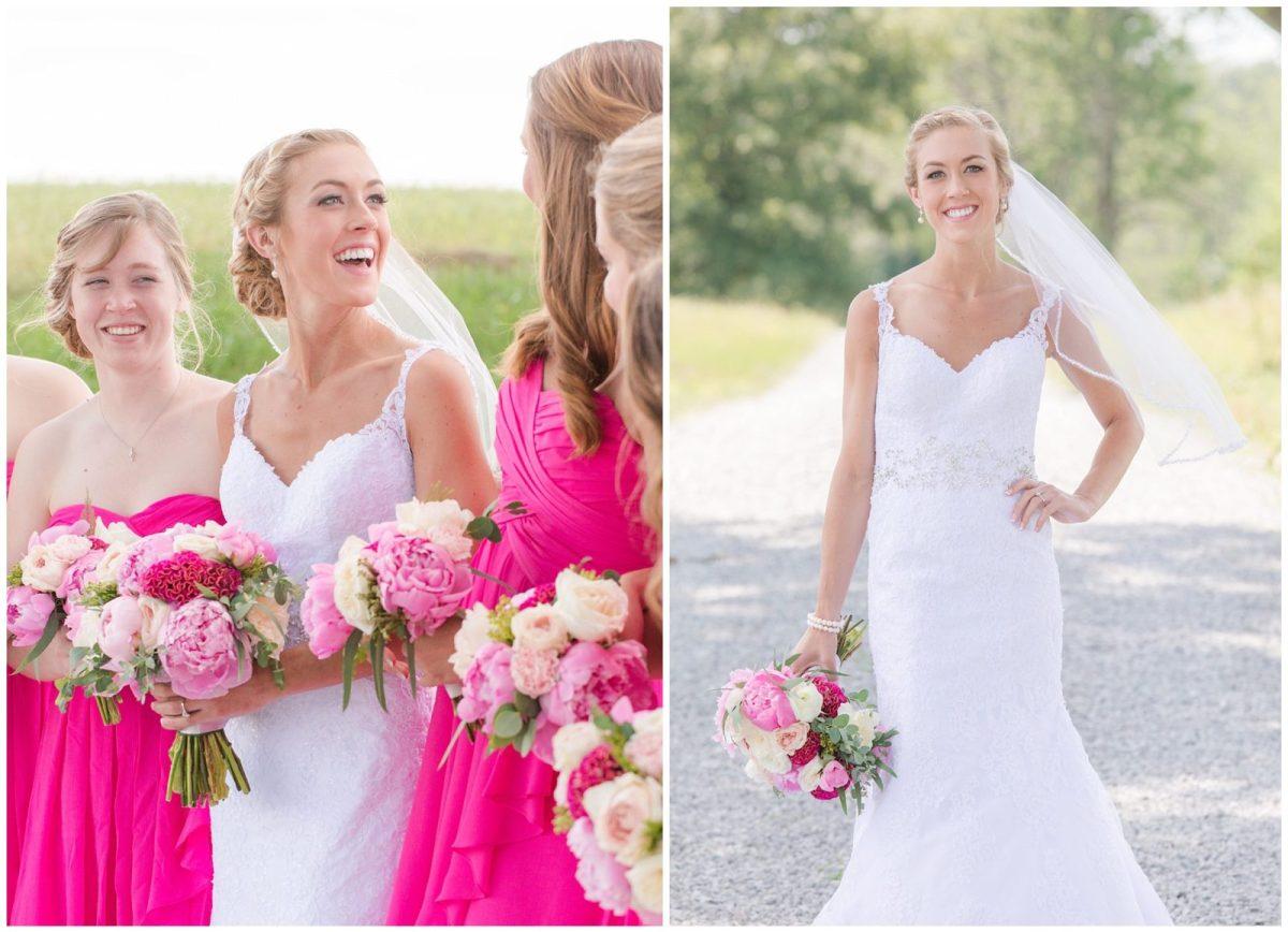 Bride and bridesmaid wedding photos in Harrodsburg, Kentucky.
