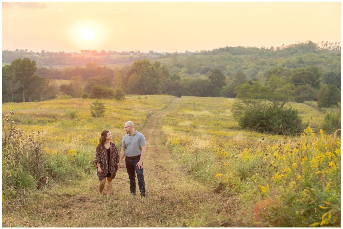Fall engagement outdoor session at Shaker Village in Harrodsburg, Kentucky.