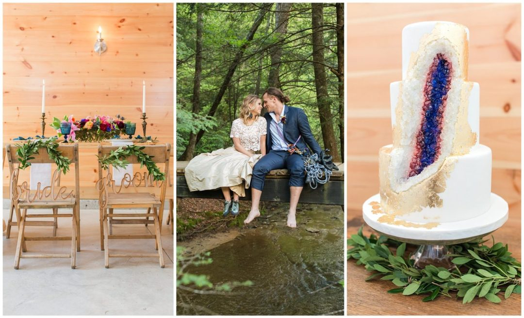 Adventure wedding styled shoot at Events at Hemlock Springs in the Red River Gorge in Kentucky
