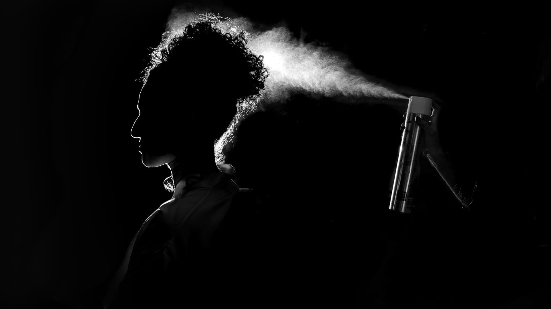 Backlit hairspray