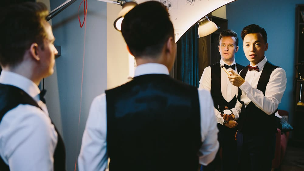 Grooms getting ready for their ceremony at The Hoxton Hotel