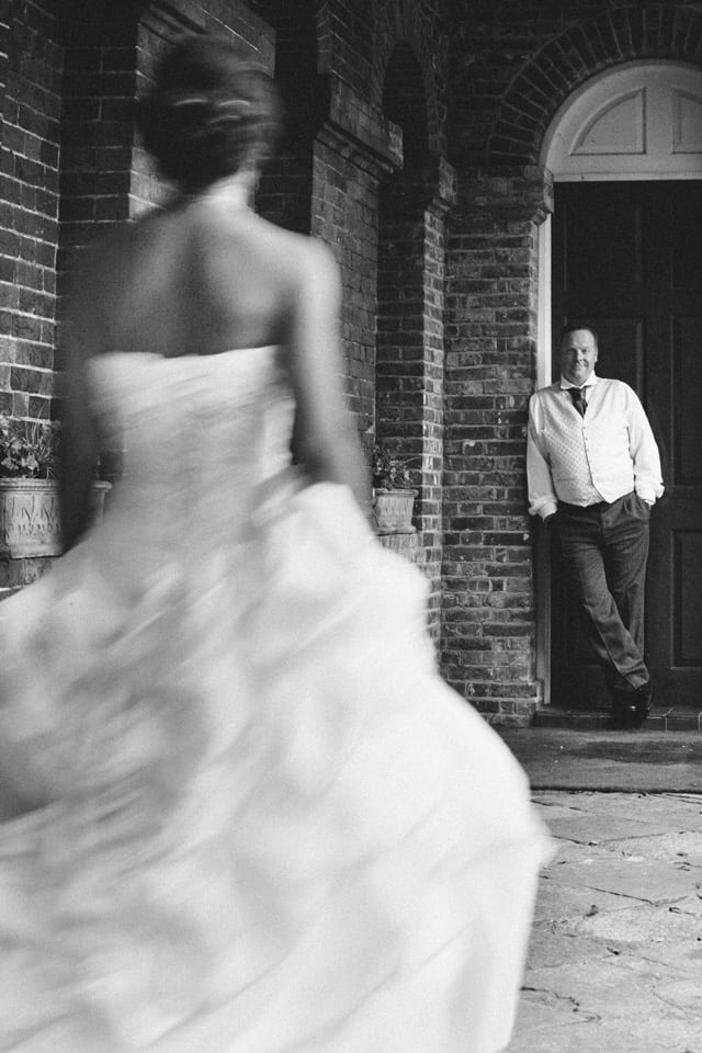 bride walking towards groom at Lainston House
