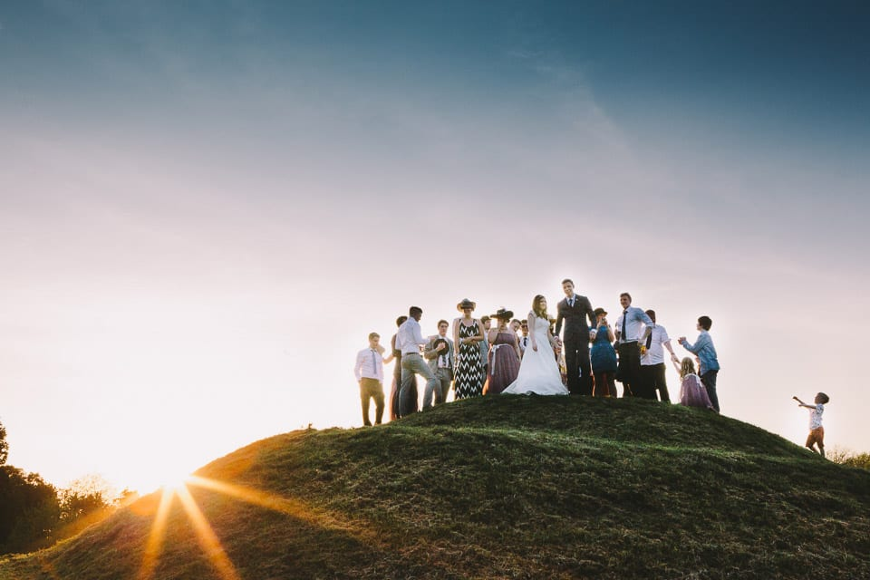 wedding party on a hill