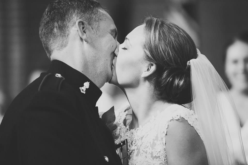 Military wedding kiss