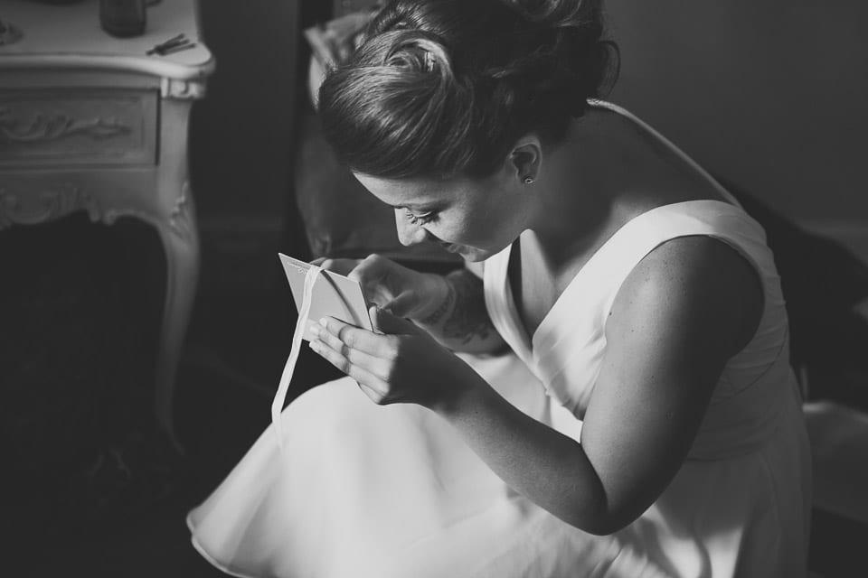 bridesmaid opens present