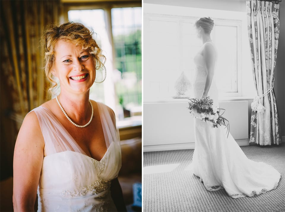 Double image of brides head and shoulders plus black and white full length by window