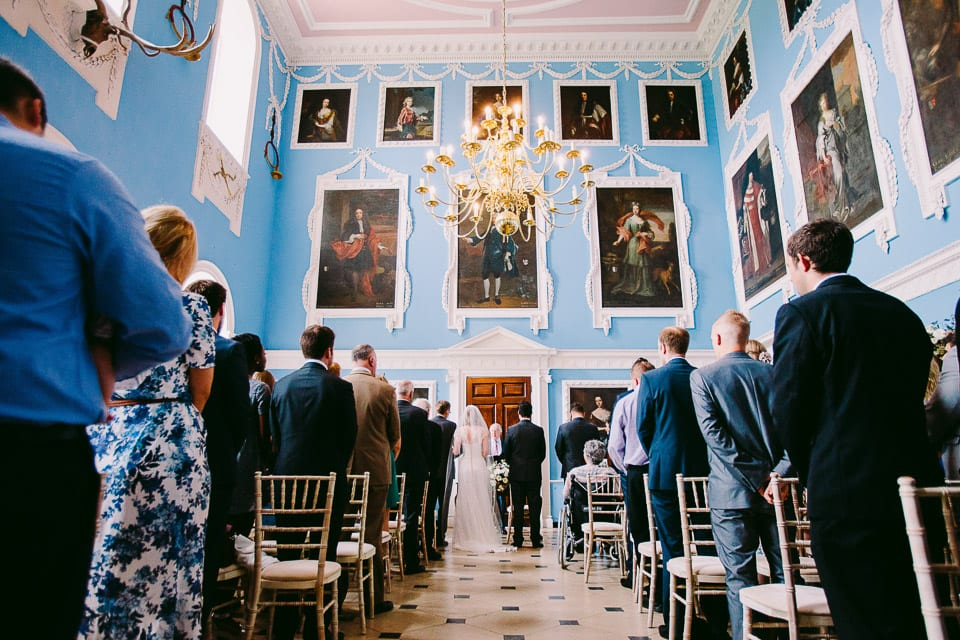 The wedding ceremony in the picture gallery at Kings Weston House Bristol