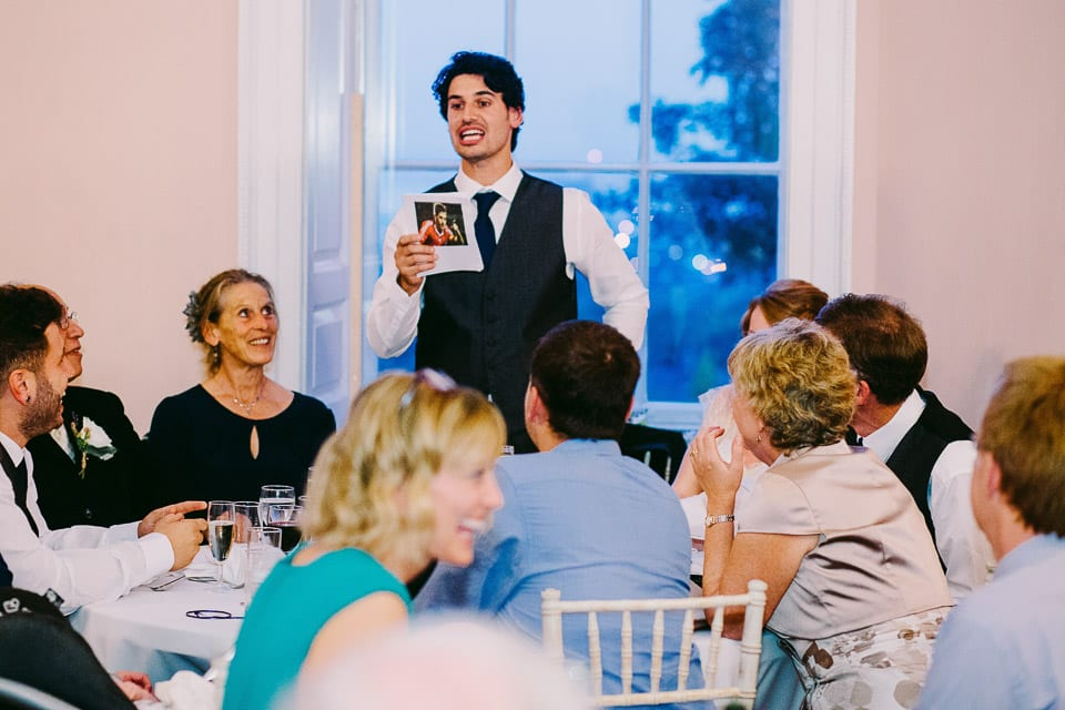 The groom's speech was football related