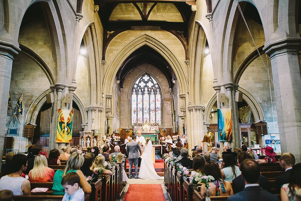 Bride and groom at the altar in Christ Church