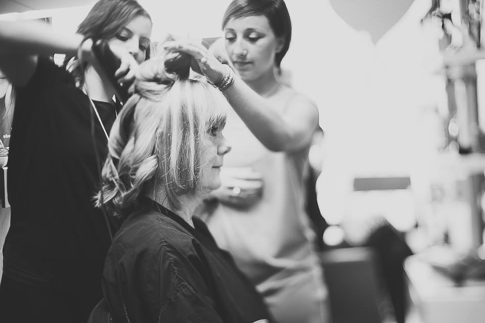 Mother of the bride having her hair done at the hairdressers
