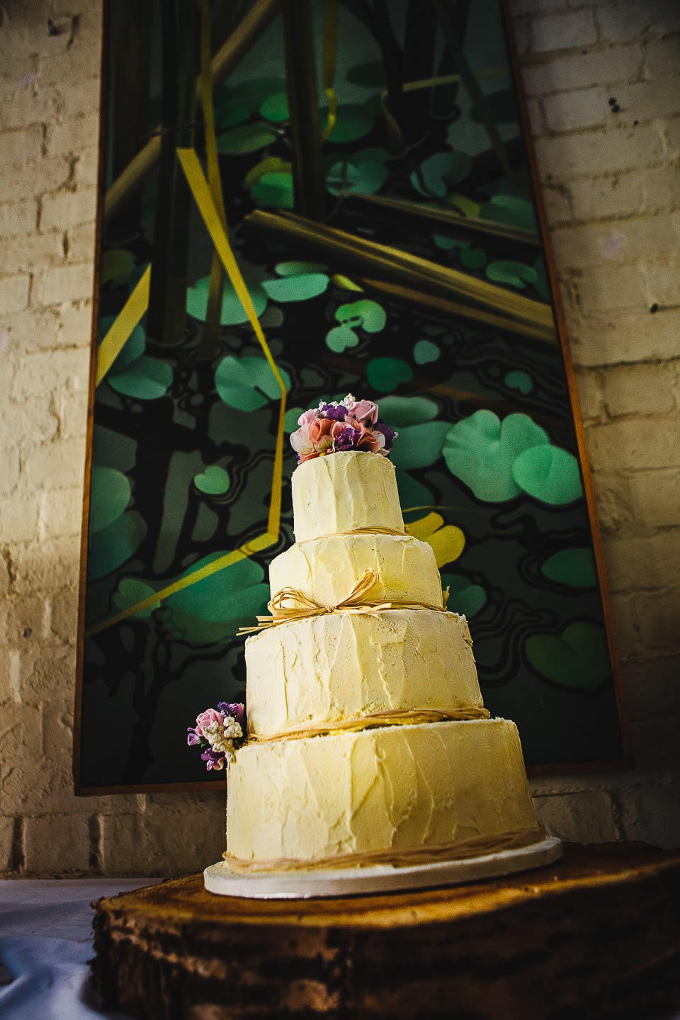 Wedding cake ready to be cut at Abbey House Gardens