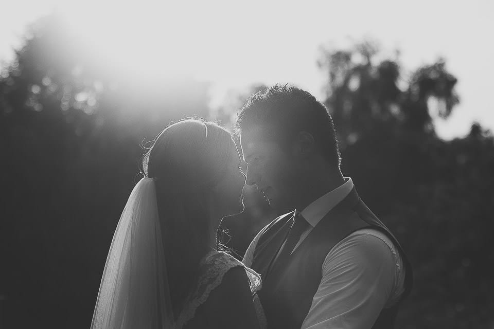 Black and white portrait of bride and groom at Abbey House Gardens