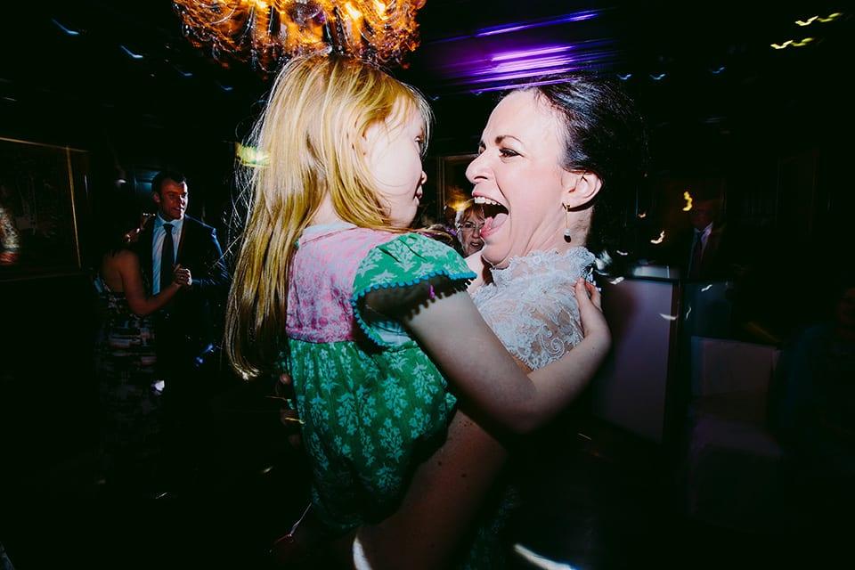 Bride dancing with her niece