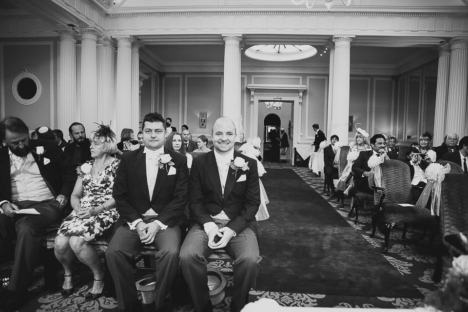 Black and white wide view of the ceremony room awaiting the bride at Bath Spa Hotel