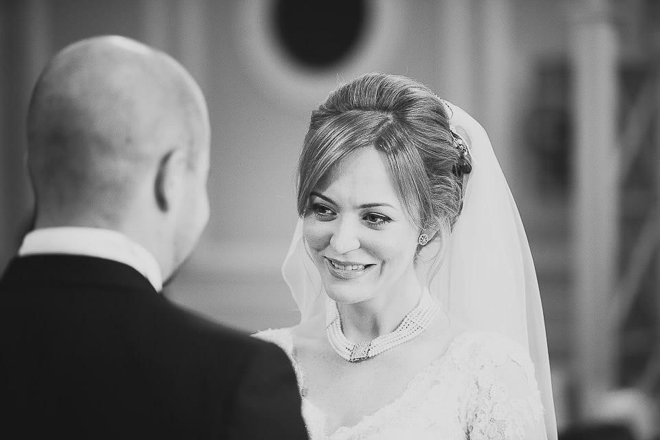 Close up of bride looking at groom at Bath Spa Hotel
