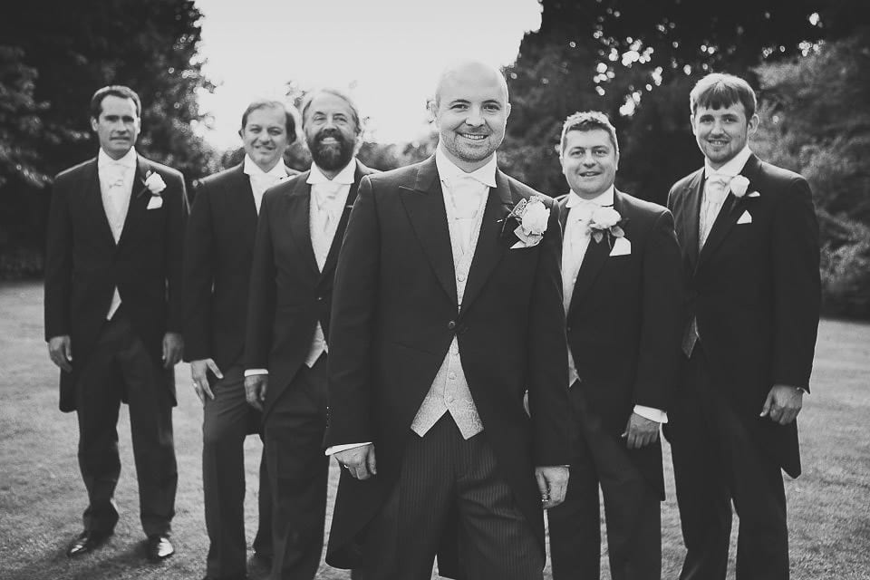 Black and white image of groom and his groomsmen at Bath Spa Hotel