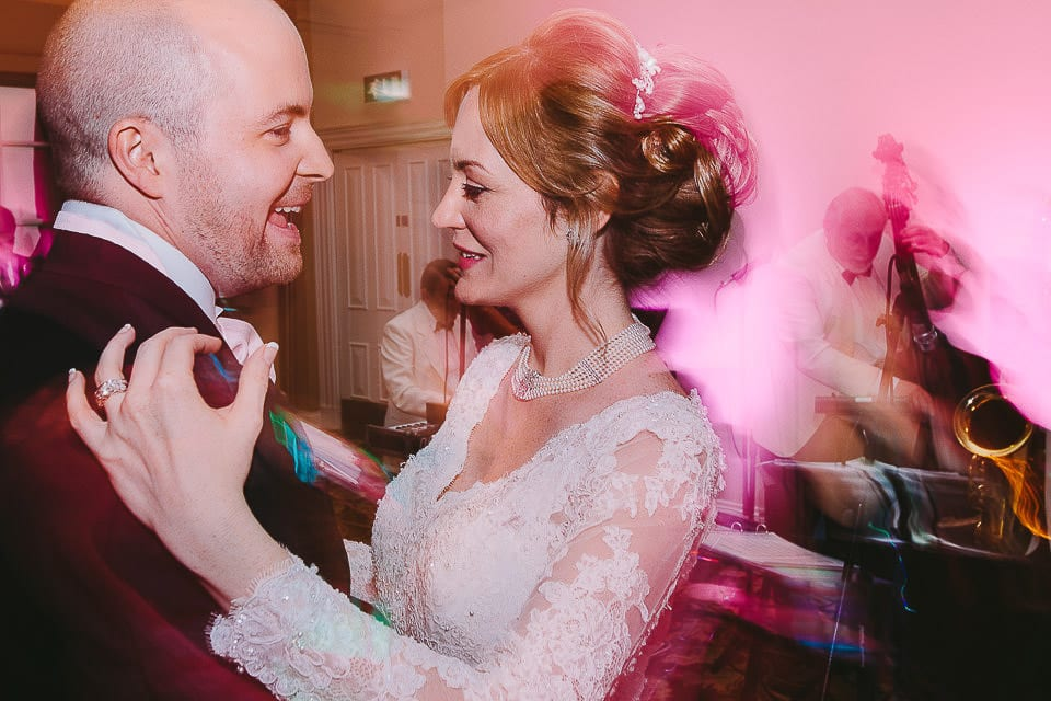 Bride and groom having their first dance at Bath Spa Hotel