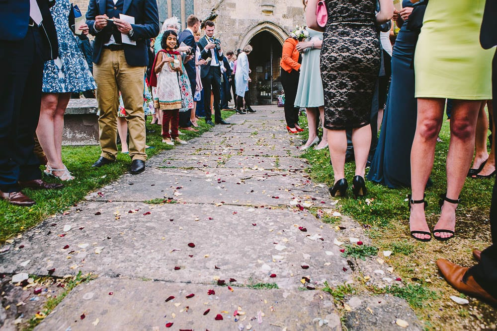 View of confetti on the path at Great Somerford church