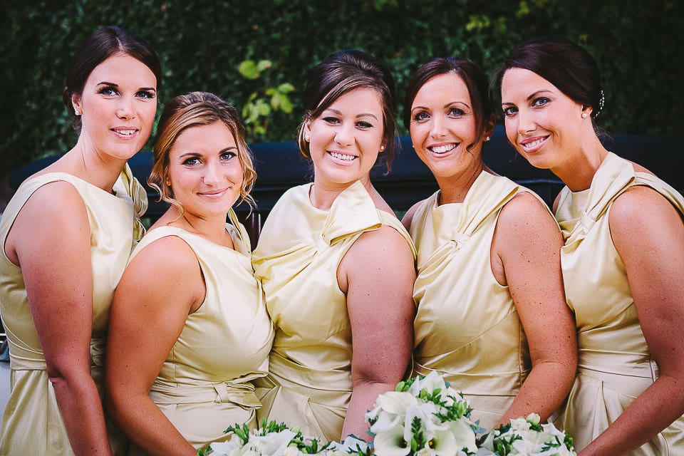 Portrait of bridesmaids lined up outside at Sopley Mill