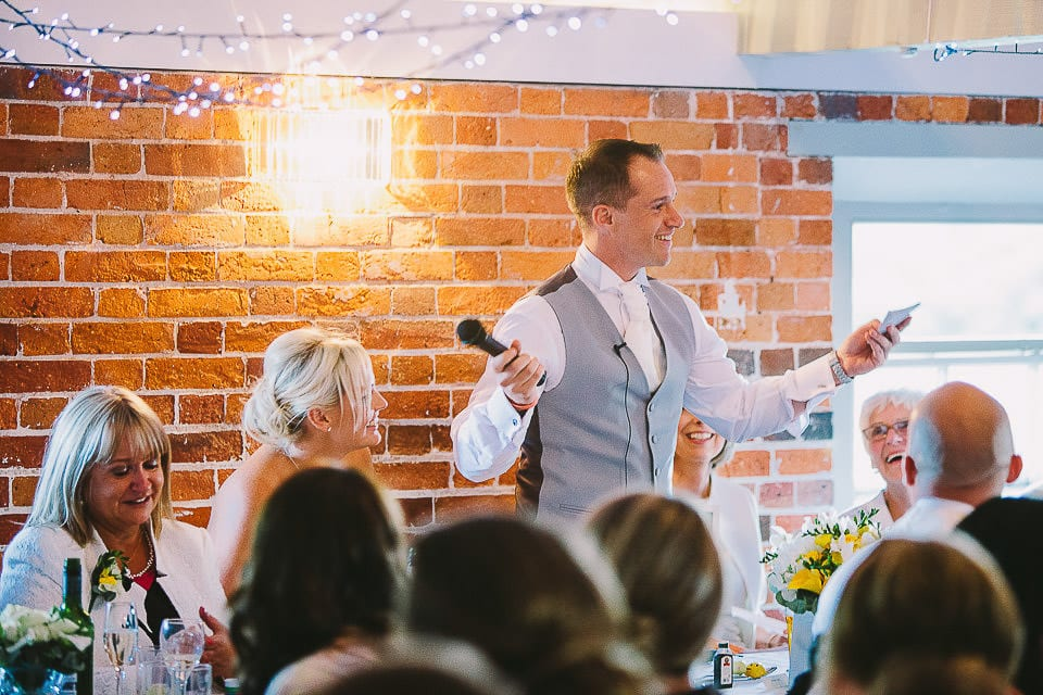 Groom giving his speech at Sopley Mill