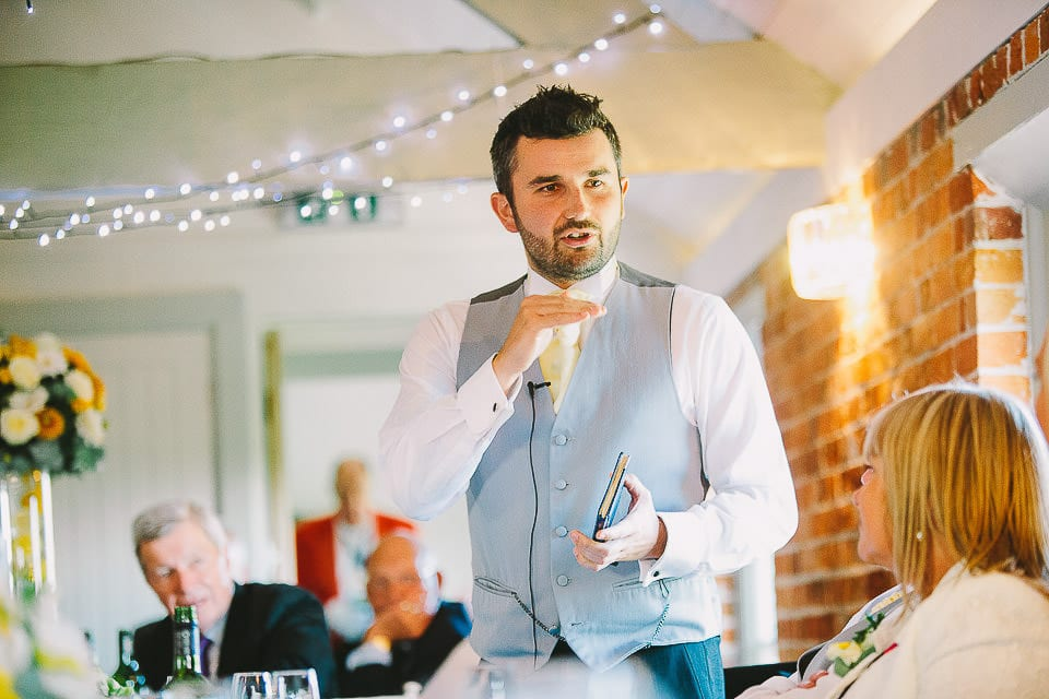 Best man giving his speech at Sopley Mill