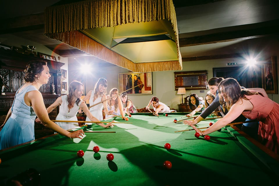 Bride and her girls playing snooker