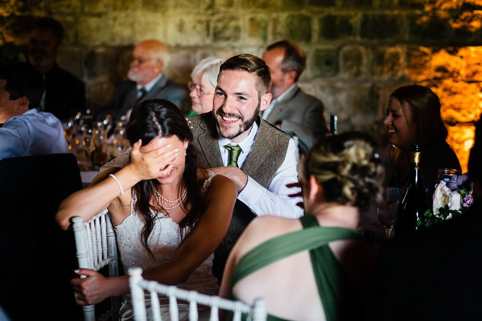 Bride and grooms reaction to best man speech