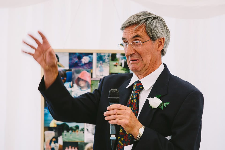 Brides father pulling a face during his speech