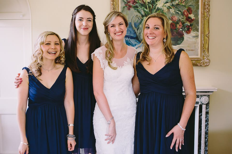 Bride and her bridesmaids ready for the wedding
