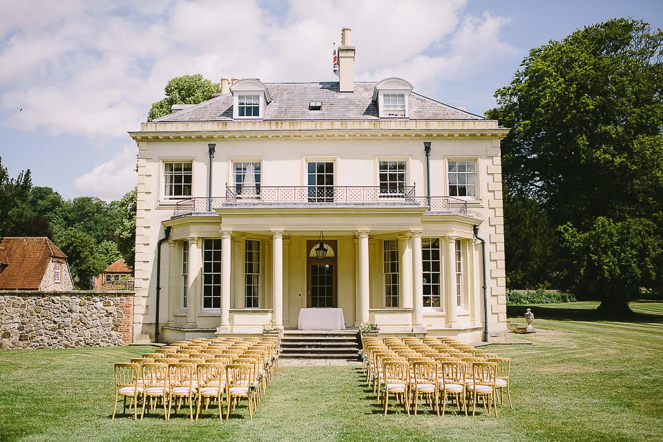 Chairs set out for outdoor ceremony at Rockley Manor
