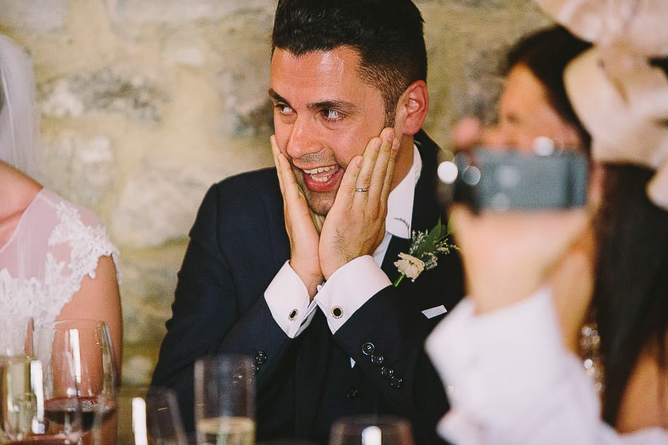 Grooms reaction during speech