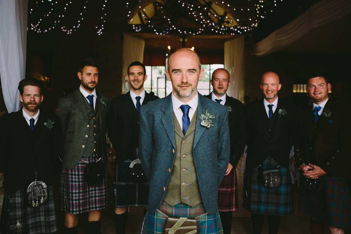 Groom and his groomsmen in kilts