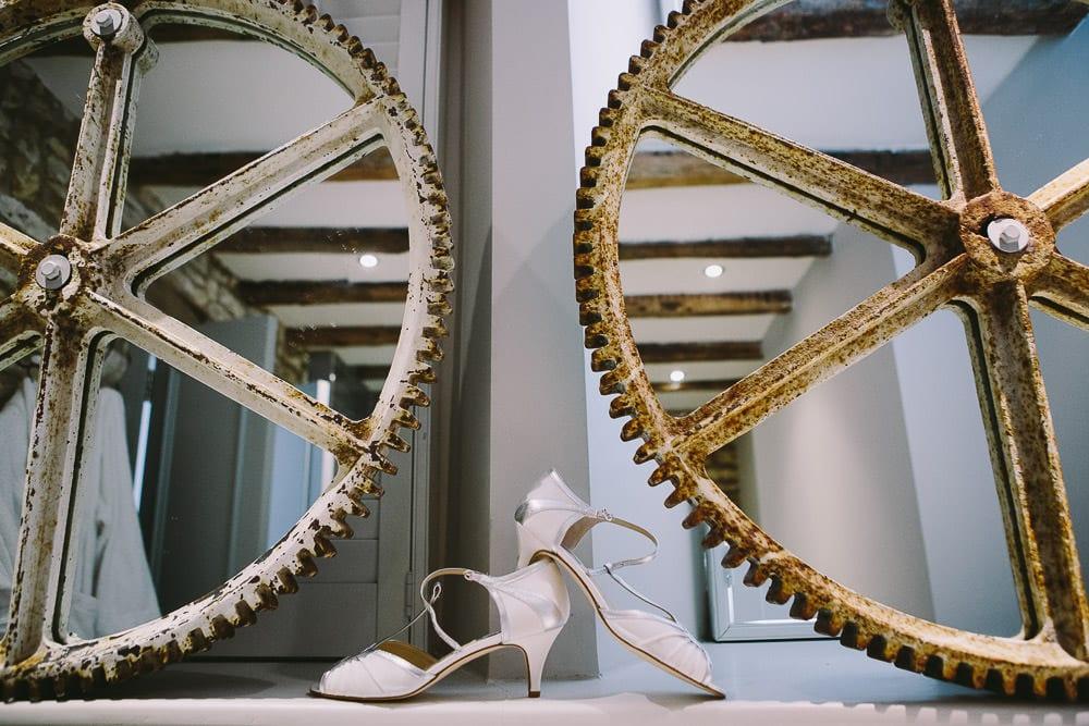 Wedding shoes on the side at The Wheatsheaf Inn
